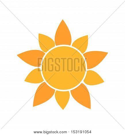 Cute sun icon flat design symbol illustration