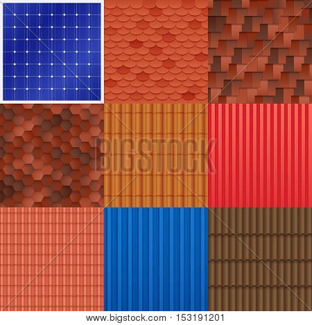 House roof tile set with different construction material structure and texture of covering vector illustration