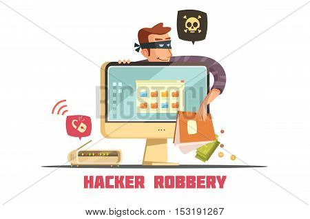 Computer hacker breaking security code to  access bank account and steal money retro cartoon icon vector illustration