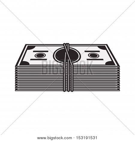 wad of cash. money bills icon over white background. vector illustration