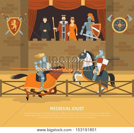 Medieval joust vector illustration with knights in armor on horseback and audience of royal blood in lodge flat vector illustration