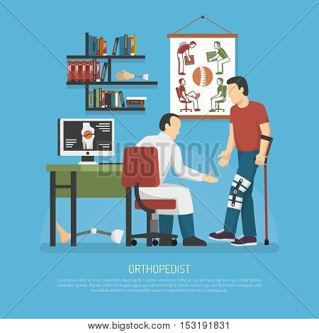 Orthopedics design concept with doctor in workplace examining patient on crutches flat vector illustration