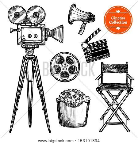 Cinema and making films hand drawn vintage set with clapper reel camera chair loudspeaker and popcorn isolated on white background sketch vector illustration