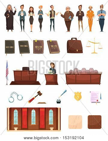 Criminal justice retro cartoon icons collection with law books jury box judge and courtroom isolated vector illustration