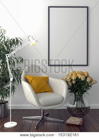 Solo chair and blank picture frame background 3d render