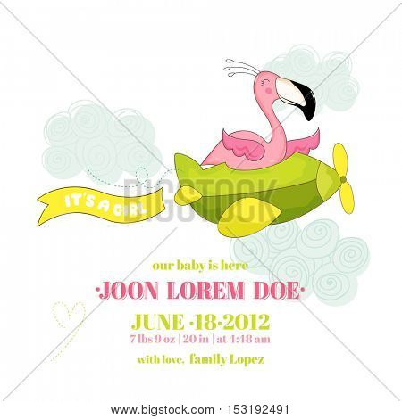 Baby Shower or Arrival Card - Baby Flamingo Girl Flying on a Plane - in vector
