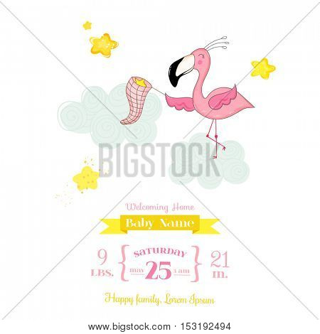 Baby Shower or Arrival Card - Baby Flamingo Girl Catching Stars - in vector