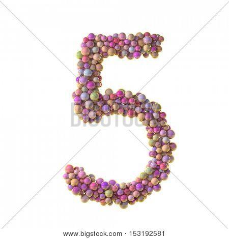 bubbles numbers 5, five, 3d illustration