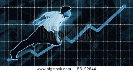 Caucasian Businessman Charging Ahead on Blue Background Art 3D Illustration Render