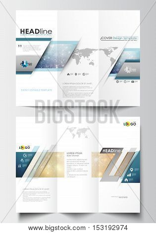 Tri-fold brochure business templates on both sides. Easy editable abstract layout in flat design. Christmas decoration, vector background with shiny snowflakes, stars.