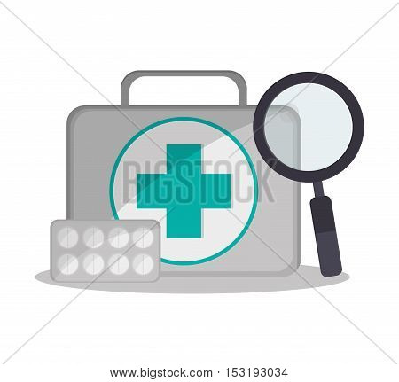 Medical kit and lupe icon. Medical and Health care theme. Colorful design. Vector illustration