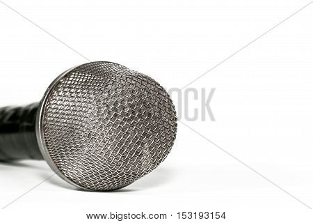 Microphone close up on a light background