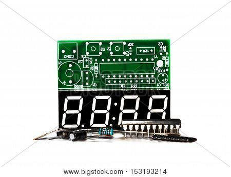 Set of electronic components on light background