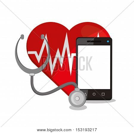 Smartphone heart and stethoscope icon. Medical and Health care theme. Colorful design. Vector illustration