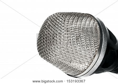 The head of the microphone isolated on white background