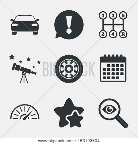 Transport icons. Car tachometer and mechanic transmission symbols. Wheel sign. Attention, investigate and stars icons. Telescope and calendar signs. Vector