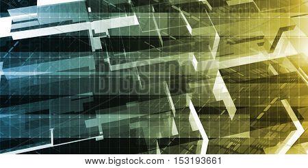 Digital Technology Network and Cyber Security Grid 3D Illustration Render