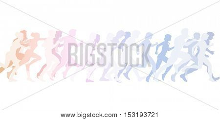 Running to the Finish Line with Crowd of People 3D Illustration Render