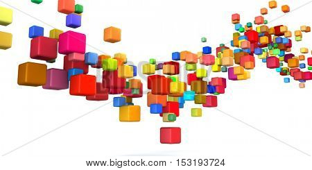 Abstract Colorful Background in Red, Blue, Green and Pink on White 3D Illustration Render