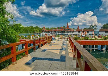 HEVIZ, HUNGARY - 15 August 2016: Entry to Heviz Themal Water Lake Resort with sign saying