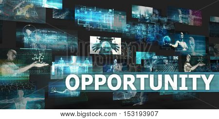 Opportunity Presentation Background with Technology Abstract Art 3D Illustration Render