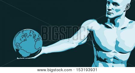 Businessman Executive Holding Globe with Glowing Ray of Light 3D Illustration Render