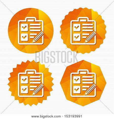 Checklist with pencil sign icon. Control list symbol. Survey poll or questionnaire form. Triangular low poly buttons with flat icon. Vector