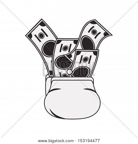 money sack with bills icon silhouette  over white background. vector illustration