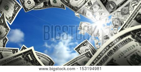 an image of one dollar bills flying in the sky