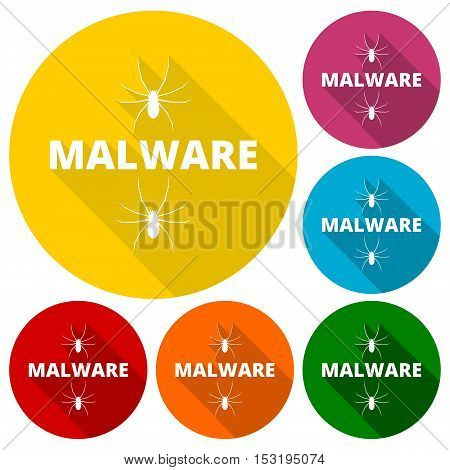 Malware Attention Hazard sign, icons set with long shadow