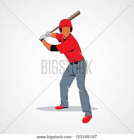 Baseball player hits the ball on a white background. Photo illustration.