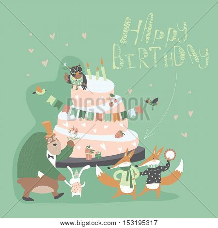 Birthday background with happy animals. Vector illustration