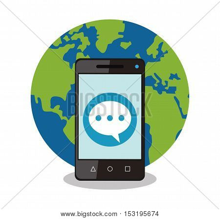 Smartphone bubble and planet icon. Social media marketing communication theme. Colorful design. Vector illustration