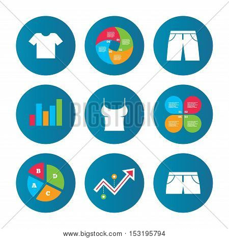 Business pie chart. Growth curve. Presentation buttons. Clothes icons. T-shirt and pants with shorts signs. Swimming trunks symbol. Data analysis. Vector