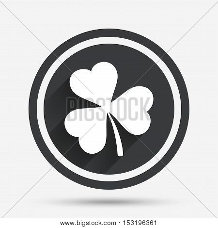 Clover with three leaves sign icon. Trifoliate clover. Saint Patrick trefoil symbol. Circle flat button with shadow and border. Vector