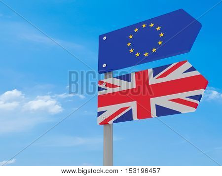 Partnership: UK And EU Road Sign Against A Cloudy Sky Pointing In The Same Direction 3d illustration