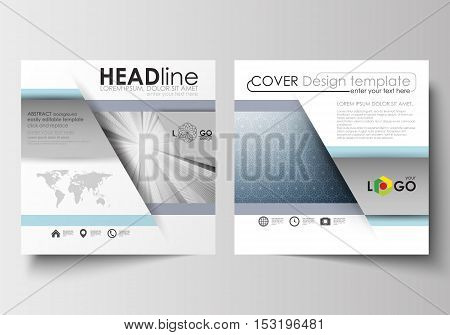 Business templates for square design brochure, magazine, flyer, booklet or annual report. Leaflet cover, abstract flat layout, easy editable blank. Abstract blue or gray business pattern with lines, modern stylish vector texture.