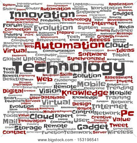 Concept or conceptual digital smart technology square word cloud isolated on background
