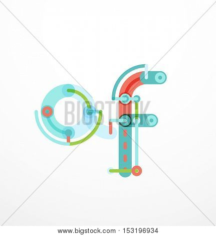 letter logo created with colorful connected line elements. Abstract geometric design