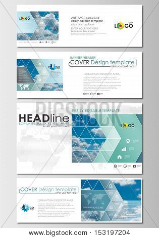 Social media and email headers set, modern banners. Business templates. Cover design template, easy editable, abstract flat blue layouts in popular formats, vector illustration