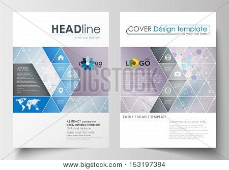 Business templates for brochure, magazine, flyer, booklet or annual report. Cover design template, easy editable blank, abstract flat layout in A4 size. Molecule structure on blue background. Science healthcare background, medical vector.