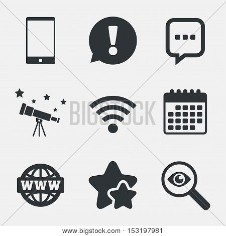 Communication icons. Smartphone and chat speech bubble symbols. Wifi and internet globe signs. Attention, investigate and stars icons. Telescope and calendar signs. Vector