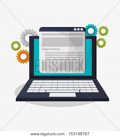 Laptop and gears icon. Social media marketing and communication theme. Colorful design. Vector illustration