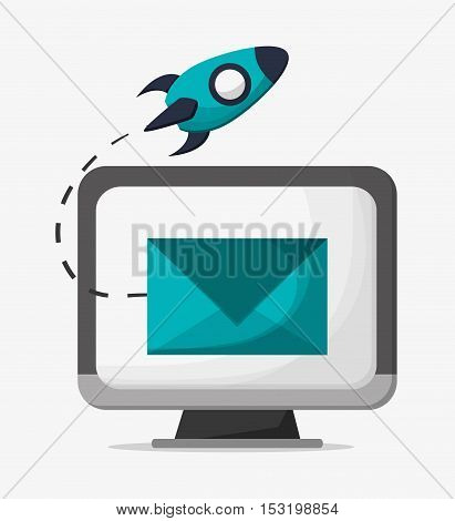 Computer envelope and rocket icon. Social media marketing and communication theme. Colorful design. Vector illustration