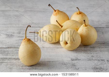Delicious Williams Or Bartlett Pears On A Rustic Wooden Kitchen Table
