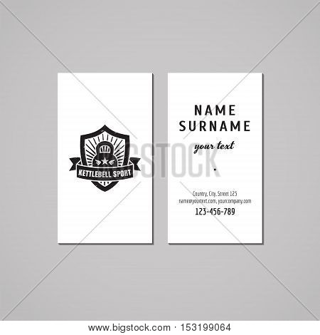 Sport & fitness vintage business card design concept. Logo with kettle bell shield and ribbon. Vintage hipster and retro style.