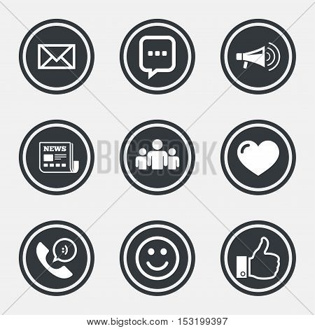 Mail, news icons. Conference, like and group signs. E-mail, chat message and phone call symbols. Circle flat buttons with icons and border. Vector