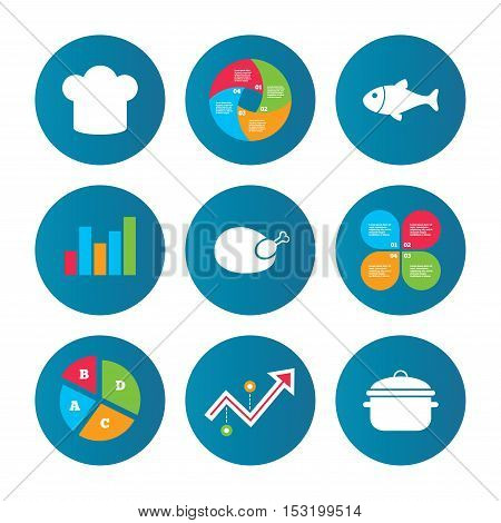 Business pie chart. Growth curve. Presentation buttons. Chief hat and cooking pan icons. Fish and chicken signs. Boil or stew food symbol. Data analysis. Vector