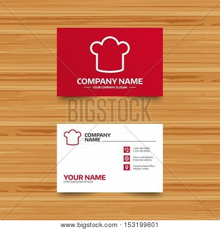 Business card template. Chef hat sign icon. Cooking symbol. Cooks hat. Phone, globe and pointer icons. Visiting card design. Vector