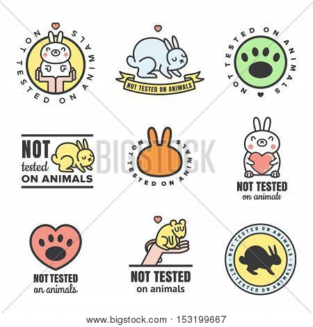 Not tested on animals cute multicolored icons. Can be used as logo and stickers.